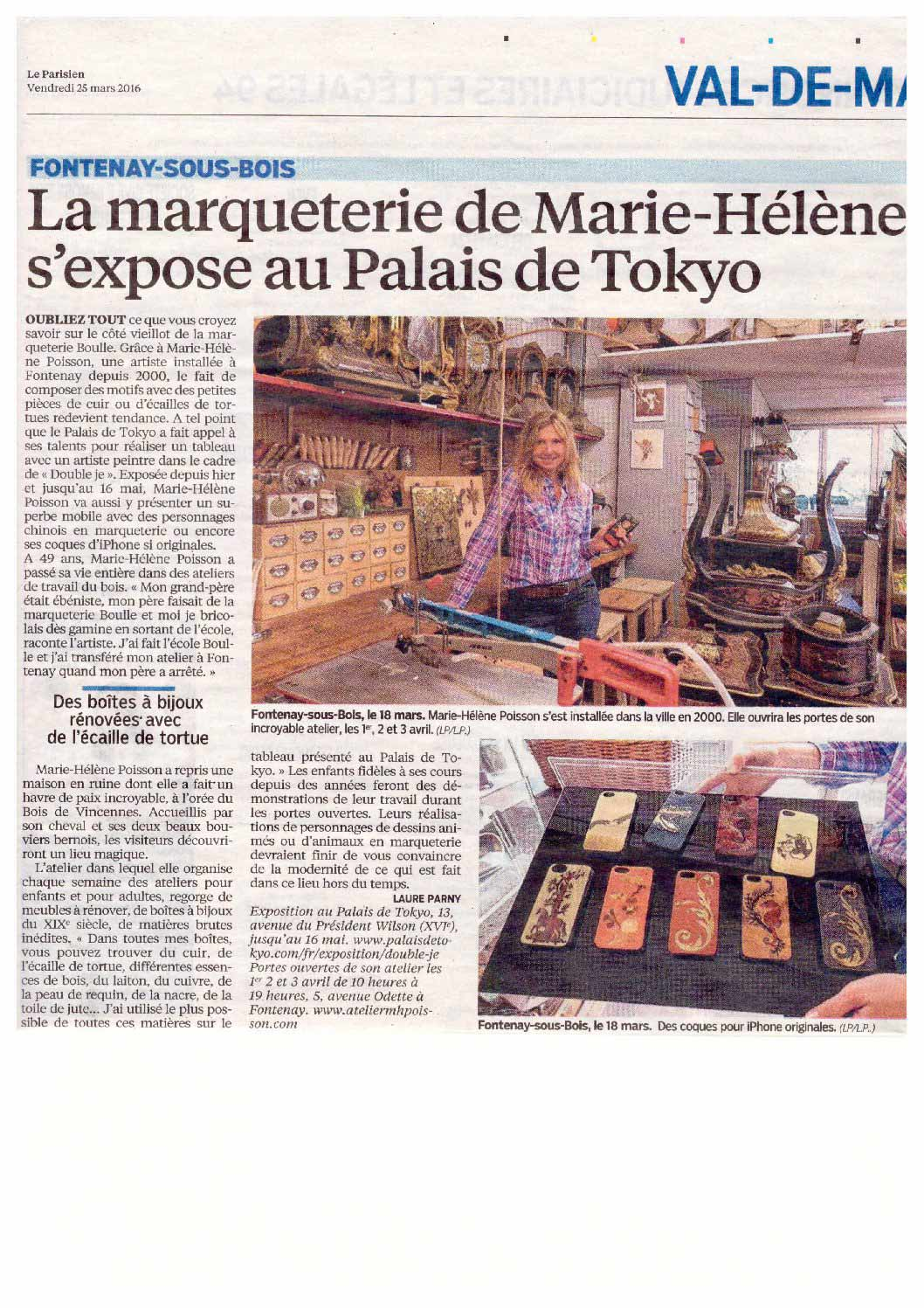 article le parisien 2016 atelier marie h l ne poisson. Black Bedroom Furniture Sets. Home Design Ideas